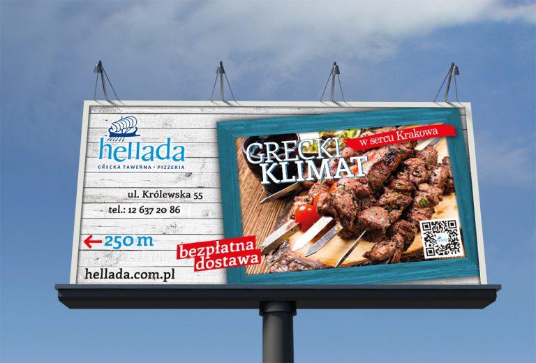 Tawerna Hellada – billboard promujący restaurację