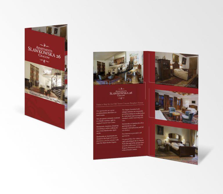 Sławkowska Apartments – sesja fotograficzna iprojekt ulotki promującej apartamanty