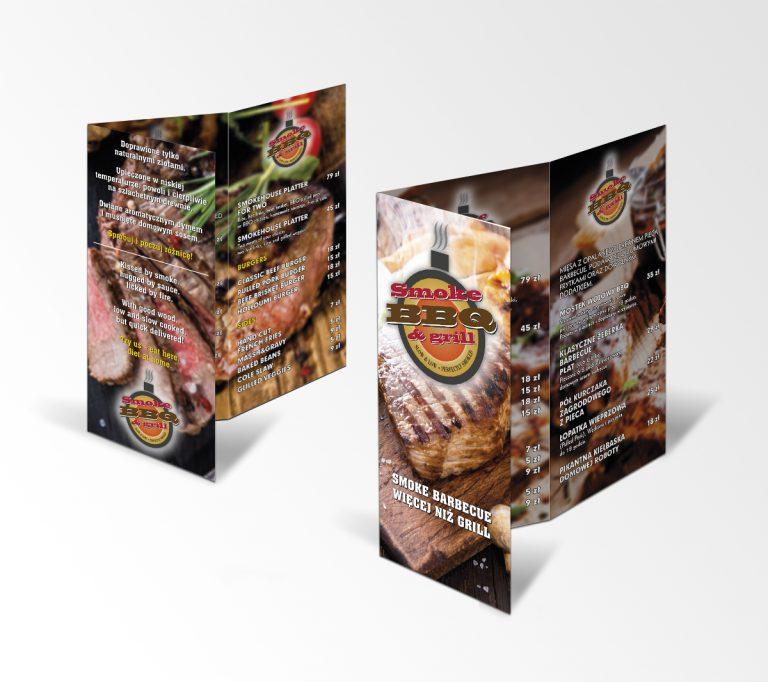 Smoke BBQ – projekt logo brandu ikarty menu