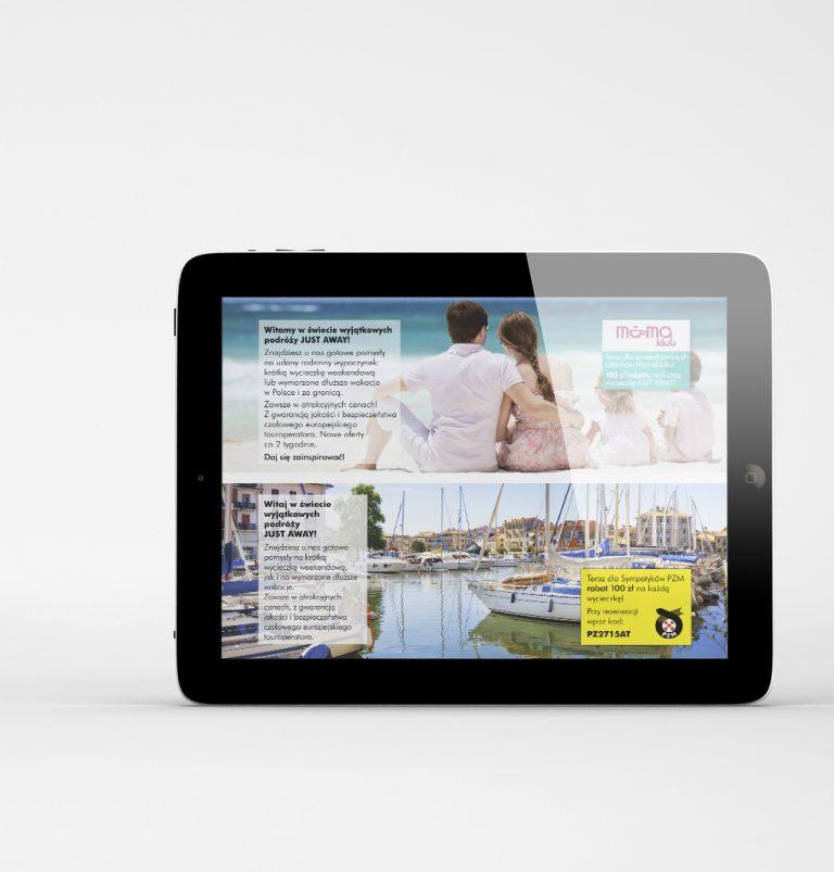 Just away – projekty banerów internetowych promujących markę należącą doEurotours